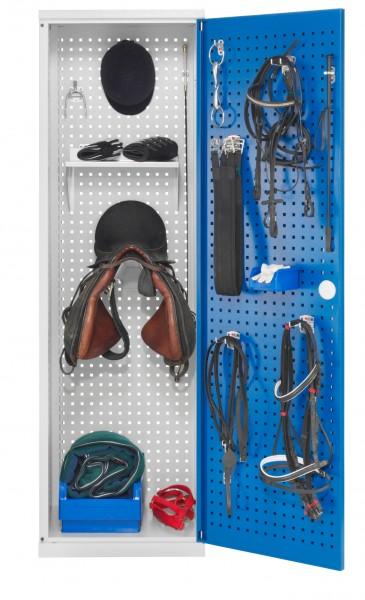Sattelschrank Modell H2 lichtgrau / enzianblau