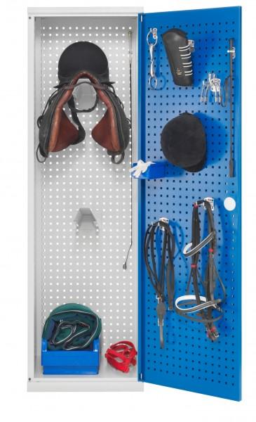 Sattelschrank Modell H3 lichtgrau / enzianblau
