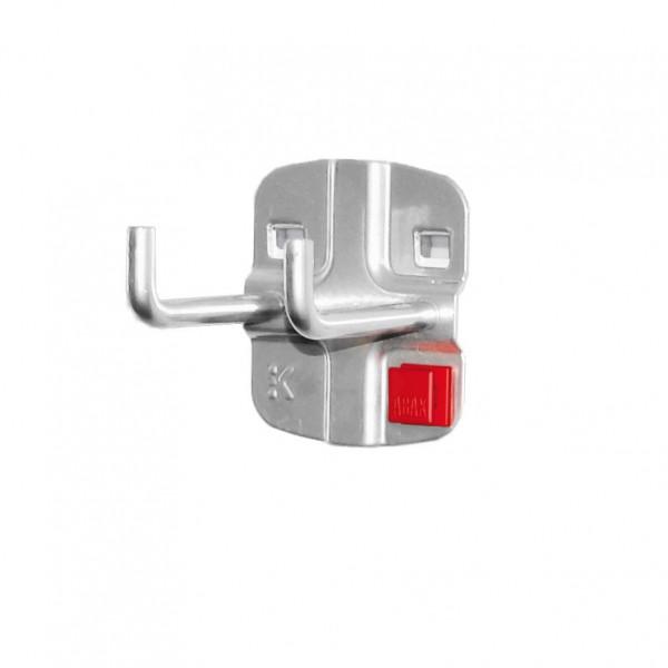 RasterPlan/ABAX Doppelter Werkzeughalter L 50 mm senkrechtes Hakenende alufarben