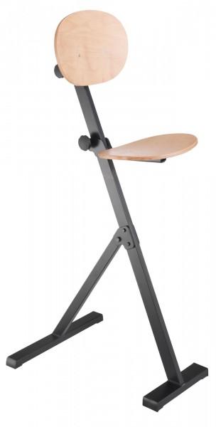 ErgoPlus Stehhilfe mit Rückenlehne, Gestell tiefschwarz, Buche natur lackiert.