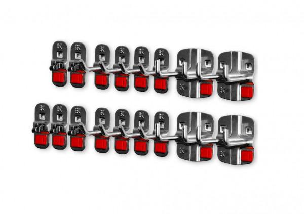 RasterPlan/ABAX Werkzeughalter-Sortiment, 17-teilig anthrazitgrau. 8 Werkzeughalter mit schrägem Ende, 4 Doppelter Werkzeughalter, 5 Werkzeugklemmen.