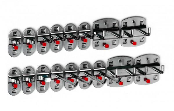 RasterPlan Werkzeughalter-Sortiment, 17-teilig anthrazitgrau. 8 Werkzeughalter mit schrägem Ende, 4 Doppelte Werkzeughalter, 5 Werkzeugklemmen.